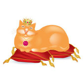 Red fat cat in a crown — Stock Vector