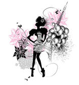 Fashion girl silhouette — Stock Vector
