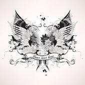 グランジ紋章入りのビンテージ デザイン — ストックベクタ