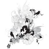 Vector floral illustration black and white — Vector de stock