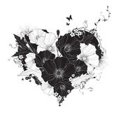 Abstract floral heart black and white — Stock Vector