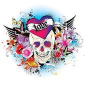 Skull tattoo style graphic. — Stock Vector