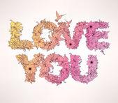 Je t'aime. paroles de fleurs — Vecteur