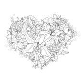Abstract floral heart black and white — Vector de stock