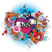 Heart with dragons and flowers tatoo style graphic — Vector de stock