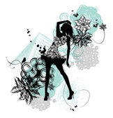 Fashion girl silhouette — Vector de stock