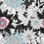 Naadloze patroon met fantastische bloemen — Stockvector