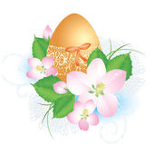 Easter egg with flowers — Stock Vector