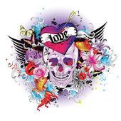 Skull t-shirt graphic — Stock Vector