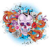 Skull tattoo style graphic. — Vector de stock
