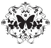Decorative frame with flowers and butterflies in art nouveau style — Vector de stock