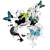 Vector girl with butterflies and flowers — Vector de stock