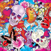 Seamless pattern with hearts, skulls and flowers — Stock Vector
