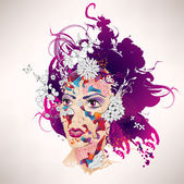 Abstract surrealistic girl with flowers — Stock Vector