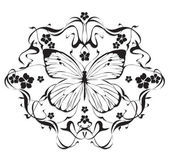 Decorative frame with flowers and butterflies in art nouveau — Vector de stock
