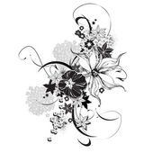 Vector floral illustration black and white — Stock Vector