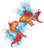 Vector decorative goldfish in tattoo style — Stock Vector