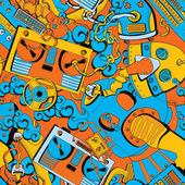 Seamless old school pattern, music and mechanisms — Vector de stock