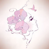 Woman profile with orchids — Vector de stock