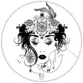 Vector Art Nouveau styled girl — Vector de stock