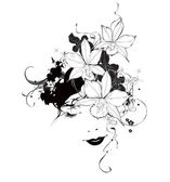Vector black and white girl with orchid flowers — Stock Vector