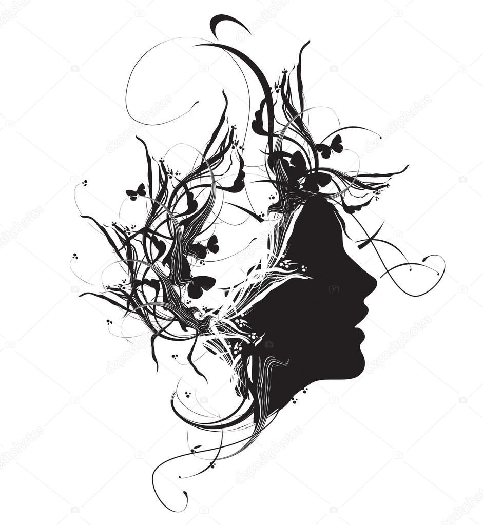 r u00e9sum u00e9 profil d u00e9coratif femme noir et blanc  u2014 image vectorielle  29234025