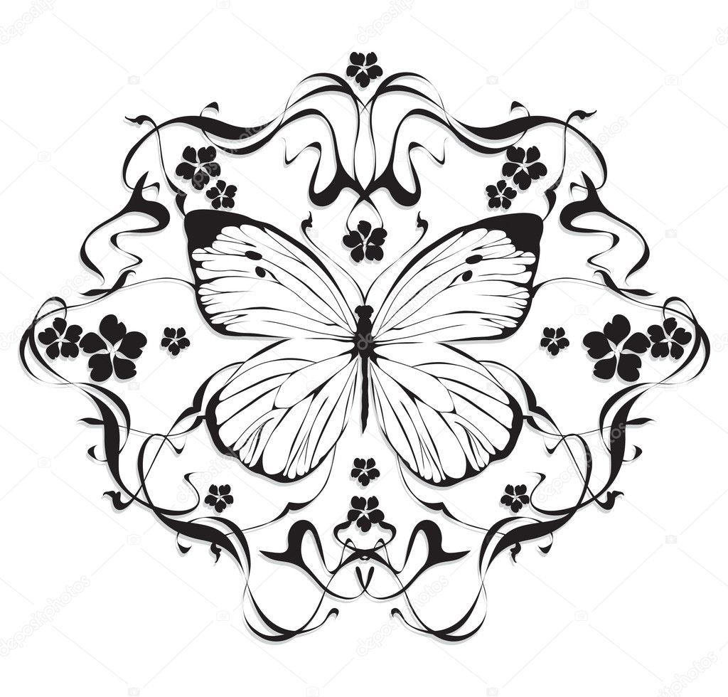 Flower Frame Line Drawing : Decorative frame with flowers and butterflies in art