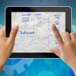 Network system plan in tablet-pc — Stock Photo #12589287