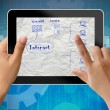 Network system plan in tablet-pc — Stock Photo
