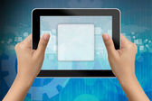 Hand of business woman holding digital tablet with blank icon — Stock Photo