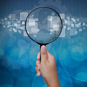 Blank in Magnifying glass screen interface background — Stock Photo