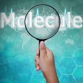 Molekül, büyüteç camı, arka plan tıp word'de — Stok fotoğraf