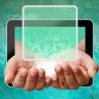 Stock Photo: Woman hand pushing on touch screen interface ,background medical