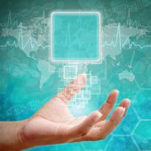 Touch screen interface on Woman hand ,background medical — Stock Photo