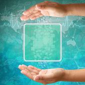Interfejs ekranu dotykowego, kobieta strony, tło medyczne — Zdjęcie stockowe