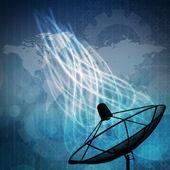 Satellite dish on network background — Stock Photo
