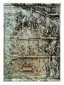 Low relief cement handcraft in temple — Stock Photo