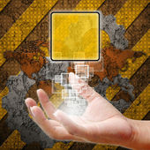 Hand pushing on touch screen interface ,industry background — Stock Photo