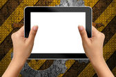 Hand of business woman holding digital tablet with blank screen — Stock Photo