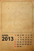 2013 Calendar, April on empty old paper — Stock Photo