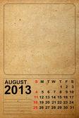 Calendario 2013, agosto su carta vecchia vuota — Foto Stock