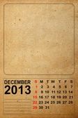2013 Calendar, December on empty old paper — Stock Photo