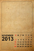 2013 Calendar, November on empty old paper — Stock Photo