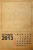 2013 Calendar, October on empty old paper — Stock fotografie