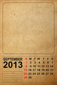 2013 Calendar, September on empty old paper — Stock fotografie