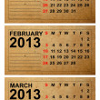 2013 Calendar, January, February, March on empty old paper — Stock Photo