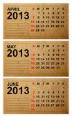 Calendario 2013, abril, mayo, junio en papel antiguo — Foto de Stock