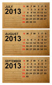 2013 Calendar, July ,August ,September on old paper — Stock Photo