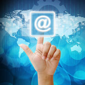 In press mail icon on business background blue color — Stock Photo
