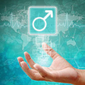Male Symbol on hand ,medical background — Stock Photo